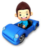 Boy riding in an Blue open car Royalty Free Stock Photos