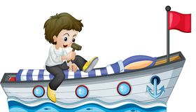 A boy riding in a boat with a red flag Stock Photography
