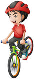 A boy riding his bike. Illustration of a boy riding his bike on a white background Royalty Free Stock Photography