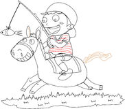 A Boy Riding on a Horse Stock Photography