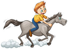 A boy riding a horse. On a white background Royalty Free Stock Photos