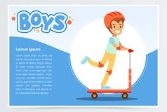 Boy riding kick scooter, boys banner for advertising brochure, promotional leaflet poster, presentation flat vector. Element for website or mobile app with Stock Photography