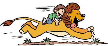 Boy Riding a Lion. A cartoon boy riding a pet lion Royalty Free Stock Photography