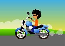 Boy riding motorcycle. Illustration of  cartoon boy riding motorcycle on colorful background Stock Photos
