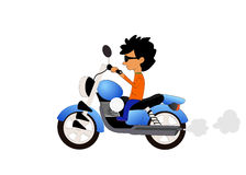 Boy riding motorcycle on white background Stock Photo