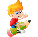 The boy riding the pencil Stock Photography