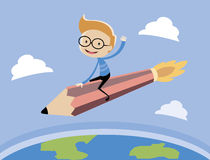 The boy riding the pencil rocket. The pencil rocket flying over the earth Royalty Free Stock Photography