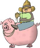 Boy Riding A Pig. This illustration depicts a boy in cowboy clothing riding a big, pink pig Royalty Free Stock Photo