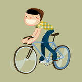 Boy riding road bike. Hipster riding fixie. boy riding road bike. character isolated. vector illustration Stock Photo