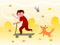 Boy riding a scooter. Illustration of smiling boy riding a scooter followed by a dog Royalty Free Stock Photography