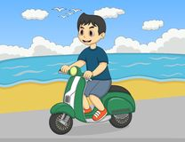 The boy riding a scooter at the beach street cartoon Royalty Free Stock Images