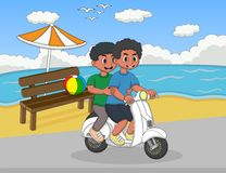 The boy riding a scooter at the beach street cartoon Royalty Free Stock Photography