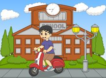 The boy riding a scooter in front of his school cartoon Stock Images