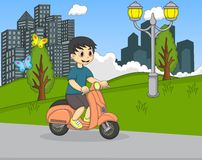 The boy riding a scooter in the park cartoon Royalty Free Stock Image