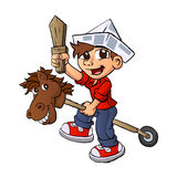 Boy riding a stick horse. Royalty Free Stock Image