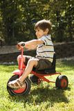 Boy riding tricycle. Royalty Free Stock Photo