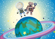A boy and a robbot in the outer space Royalty Free Stock Photos
