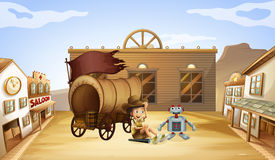 A boy and a robot near a wagon Royalty Free Stock Photo