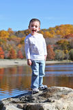 Boy on rock Stock Image