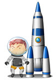 A boy beside the rocket Royalty Free Stock Photos