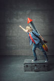 Boy with a rocket Royalty Free Stock Photo