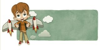 Boy and rocket wings. An illustration of a boy with rocket wings with clouds on the background Stock Photography