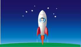 Boy in rocketship waving Royalty Free Stock Photo