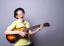 Boy Rocking Out Stock Photography