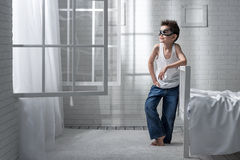 Boy in the role of a pilot Royalty Free Stock Photos