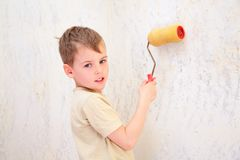 Boy with roller Royalty Free Stock Photo