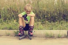 Boy on roller skates Royalty Free Stock Photos