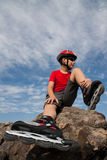 Boy in the rollerblades Stock Images
