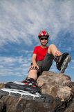 Boy in the rollerblades Royalty Free Stock Image