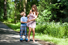 Boy on rollerblades Stock Photo