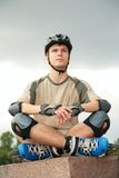 Boy on rollerblades Royalty Free Stock Images