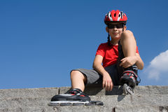 Boy in the rollerblades Royalty Free Stock Photography
