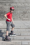 Boy in the rollerblades Royalty Free Stock Images