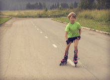 Boy rollerblading Royalty Free Stock Photography