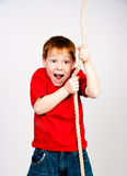 Boy with a rope Royalty Free Stock Image