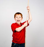 Boy with a rope Stock Photo