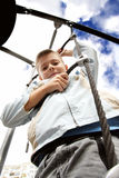 Boy on rope ladder Royalty Free Stock Photo