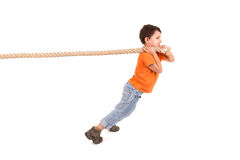 Boy with rope Stock Image