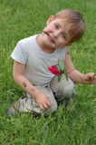 Boy with rose stock images