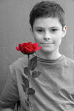 Boy with rose. Portrait of a teenage boy with red rose Stock Photography