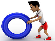 Boy rotating a circular wheel by his hands Stock Photography