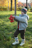Boy with rowan berries Stock Photography