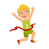 Boy run to the finish line first, a colorful character. Isolated on a white background Stock Photos