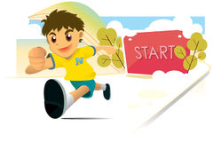 Boy Running. Boy start running when the start sign show up on screen royalty free illustration