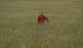 Boy running. Through meadow of long grass Royalty Free Stock Photography
