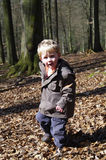 Boy running through autumn foliage Royalty Free Stock Image